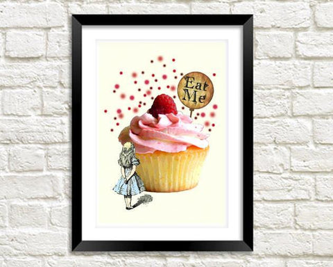 EAT ME PRINT: Alice in Wonderland Art Illustration - The Print Arcade