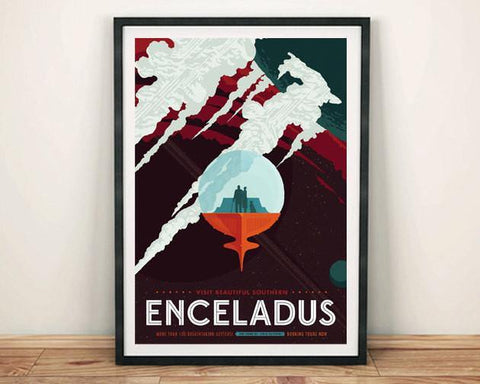 ENCELADUS POSTER: NASA Space Art Print - The Print Arcade