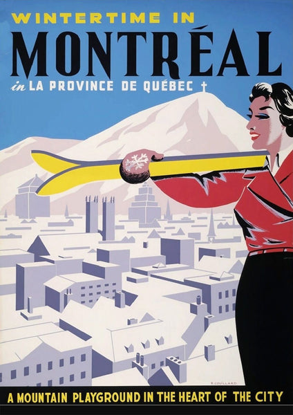 MONTREAL TRAVEL POSTER: Vintage Skiing Travel Print - The Print Arcade