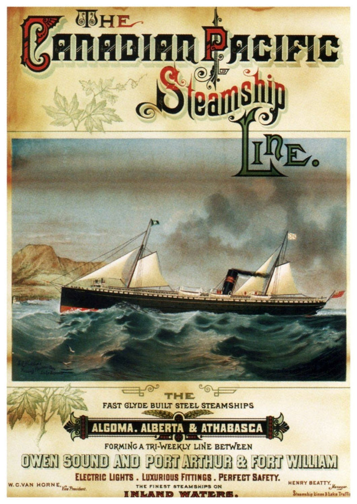 STEAMSHIP TRAVEL POSTER: Vintage Canadian Advert Print - The Print Arcade