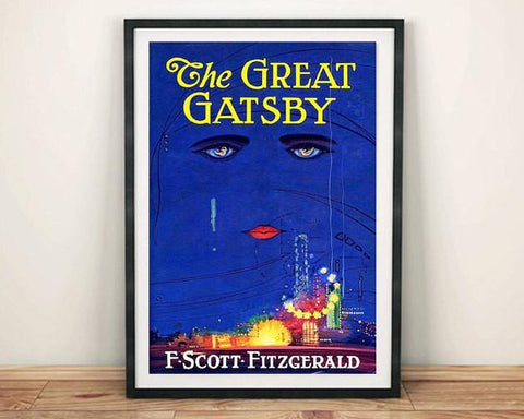 GREAT GATSBY POSTER: Vintage Fitzgerald Book Cover Art Print