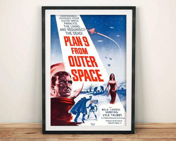 PLAN 9 POSTER: Classic B Movie Hollywood Sci-Fi Art Reprint - The Print Arcade