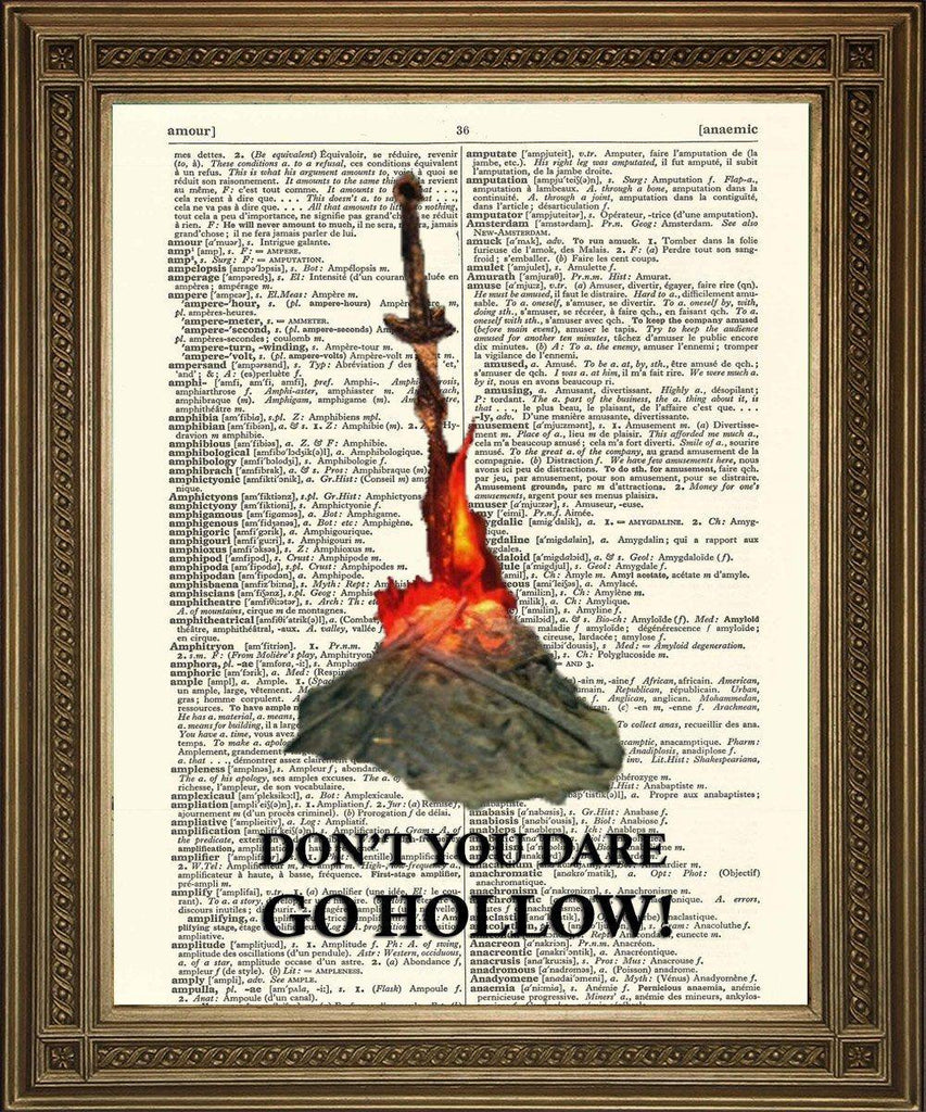 DARK SOULS PRINT: Don't You Dare Go Hollow, Bonfire Dictionary Art - The Print Arcade