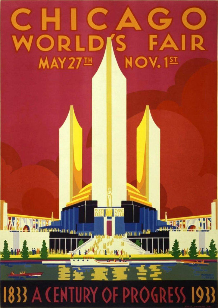 CHICAGO TRAVEL POSTER: Red American World's Fair Advert - The Print Arcade