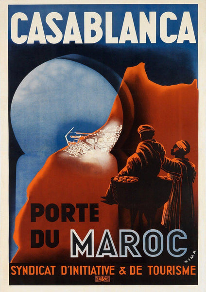CASABLANCA TRAVEL POSTER: Vintage Moroccan Advert