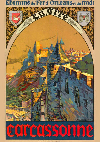 CARCASSONNE TRAVEL POSTER: French Languedoc Hilltop Citadel Advert - The Print Arcade