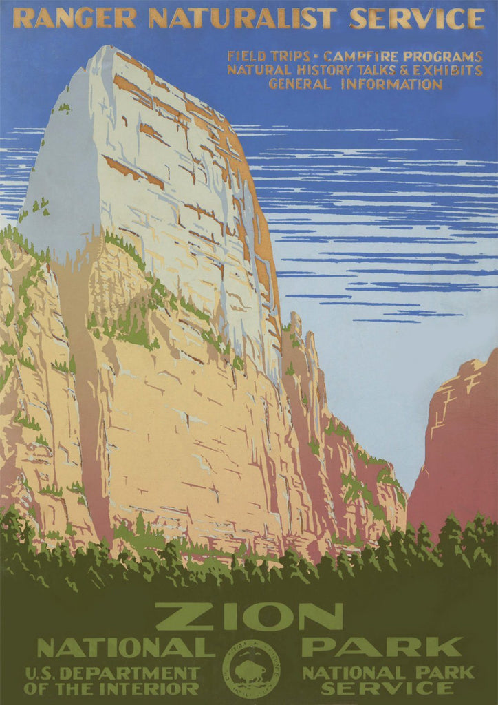ZION TOURISM POSTER: Vintage National Parks Travel Advert - The Print Arcade