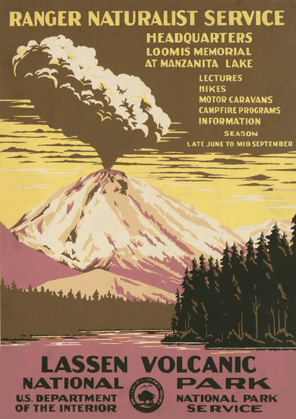 LASSEN VOLCANO POSTER: Vintage National Park Travel Print - The Print Arcade
