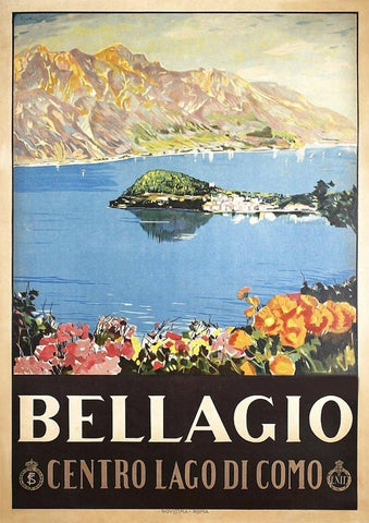 BELLAGIO TRAVEL POSTER: Vintage Italy Lake Print - The Print Arcade