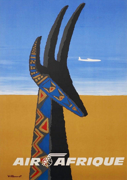 AFRICA GAZELLE POSTER: Vintage Airline Travel Advert - The Print Arcade