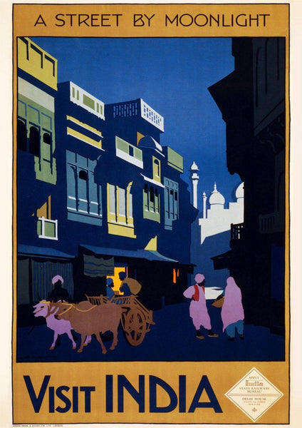 INDIA TRAVEL POSTER: Vintage Moonlight Street Print - The Print Arcade