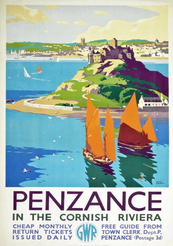 PENZANCE TRAVEL POSTER: Vintage Cornwall Railway Advert - The Print Arcade