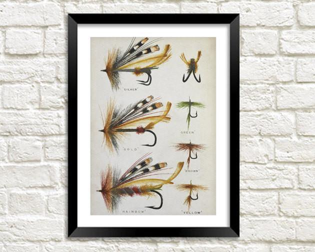 FLY FISHING PRINT: Vintage Art Illustration - The Print Arcade