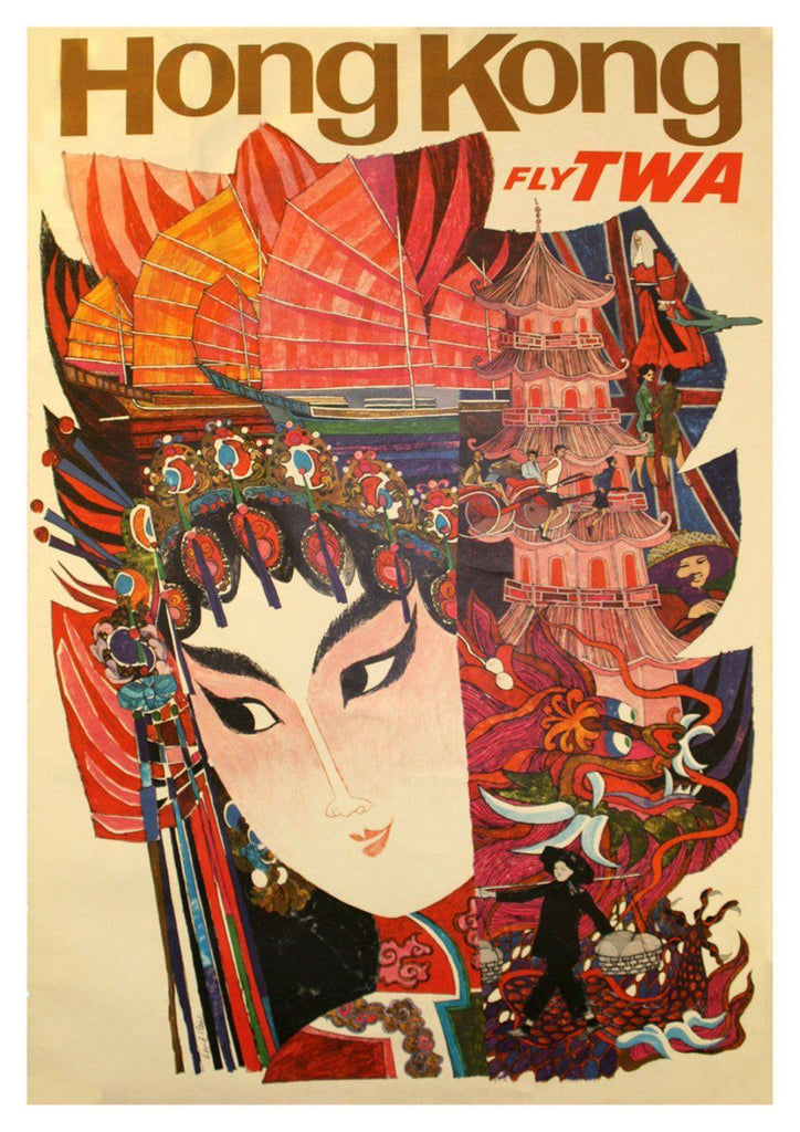 HONG KONG POSTER: Vintage Airline Art Print - The Print Arcade
