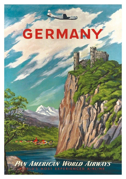 GERMANY TRAVEL POSTER: Vintage German Airline Tourism Advert - The Print Arcade