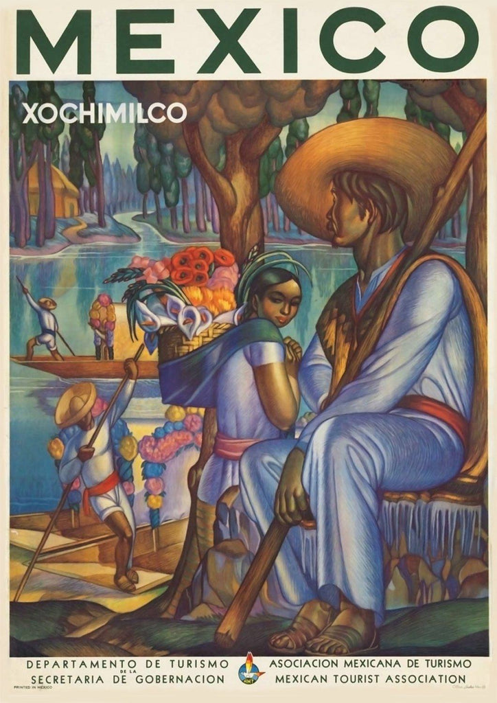 MEXICAN TRAVEL POSTER: Vintage Xochimilco Advert - The Print Arcade