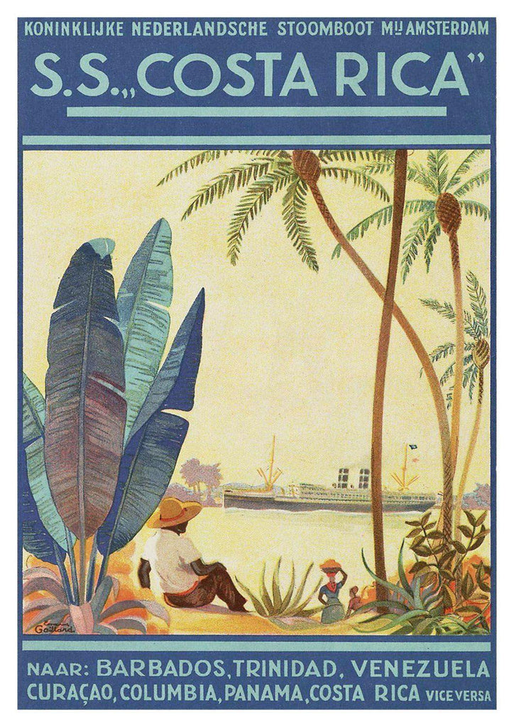 COSTA RICA POSTER: Vintage Travel Cruise Ship Print - The Print Arcade