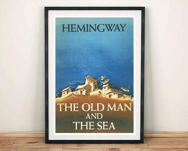 CLASSIC BOOK COVER: Vintage Old Man and the Sea Art Print - The Print Arcade
