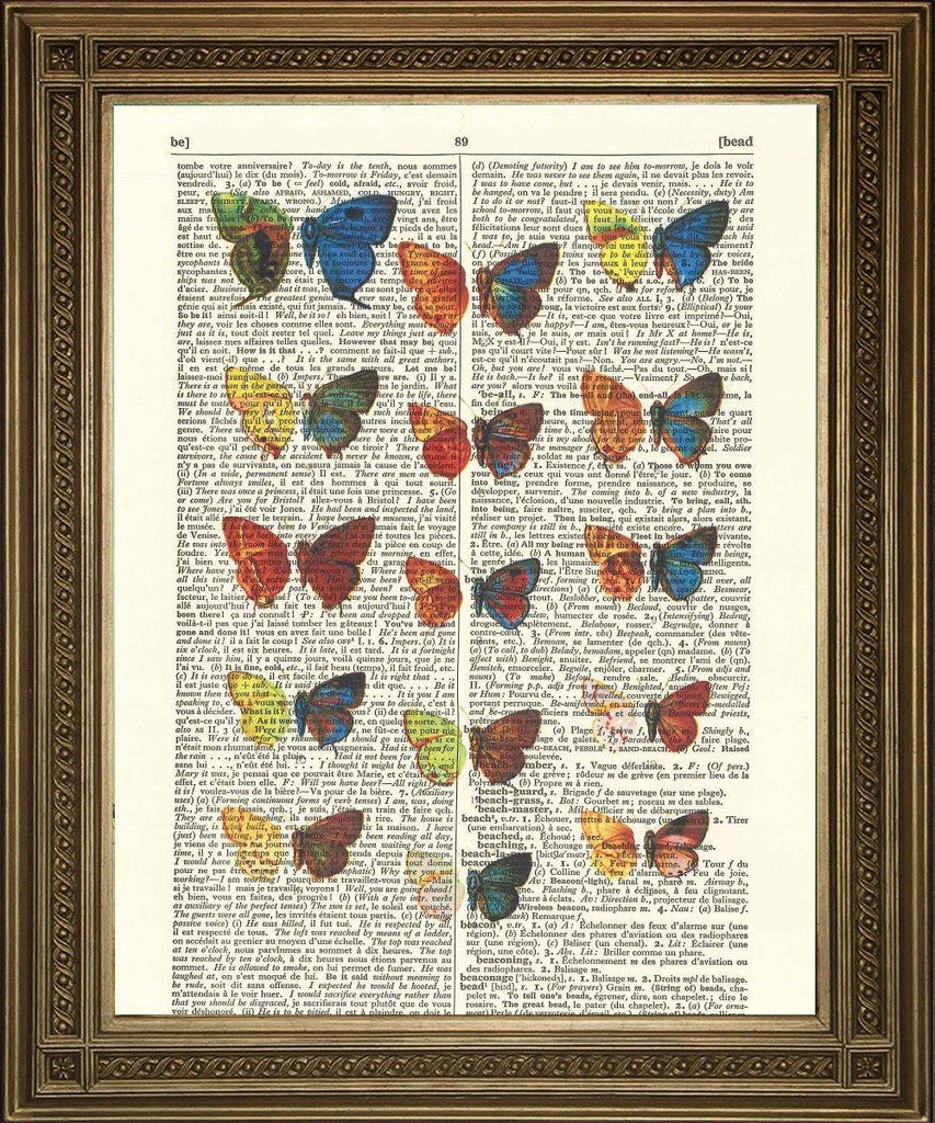 BUTTERFLY ART PRINT: Vintage Illustration on Dictionary Page - The Print Arcade