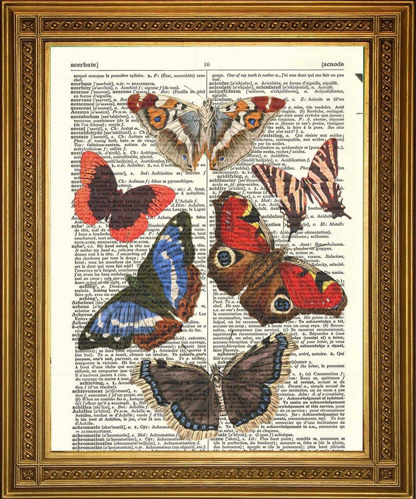 BUTTERFLIES ART PRINT: Vintage Dictionary Page Artwork - The Print Arcade
