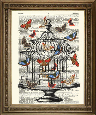 BIRDCAGE & BUTTERFLY: Dictionary Art Print - The Print Arcade