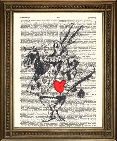 WHITE RABBIT HERALD: Alice Dictionary Art Print - The Print Arcade