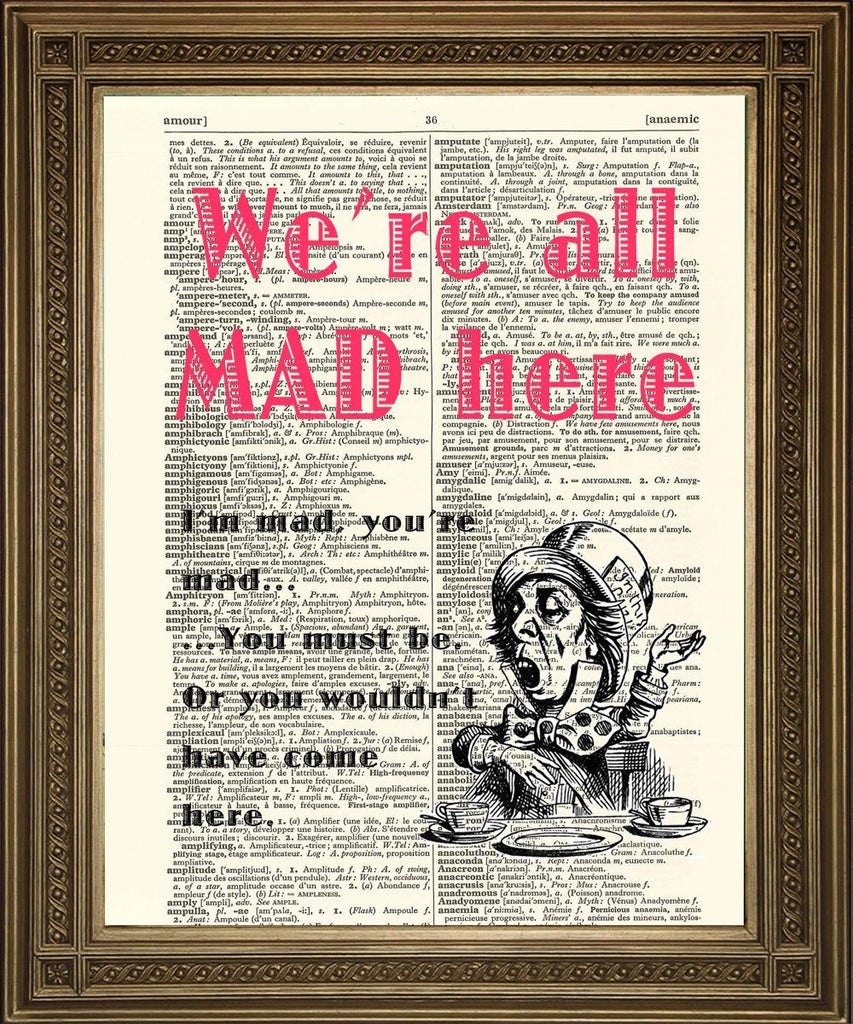 MAD HATTER PRINT: Alice in Wonderland Dictionary Art - The Print Arcade
