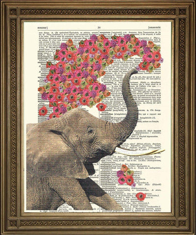 ELEPHANT ART WITH FLOWERS: Dictionary Art Print - The Print Arcade