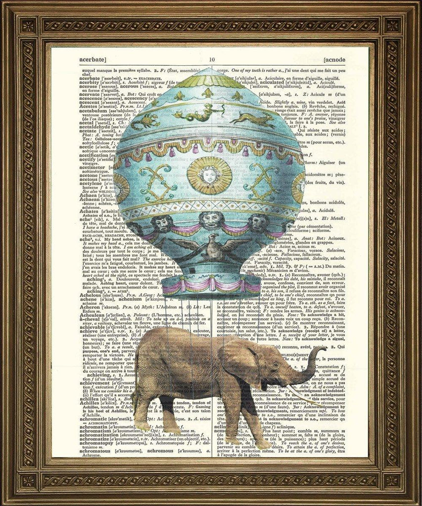 FLYING BALLOON ELEPHANT: Original Dictionary Art Print - The Print Arcade