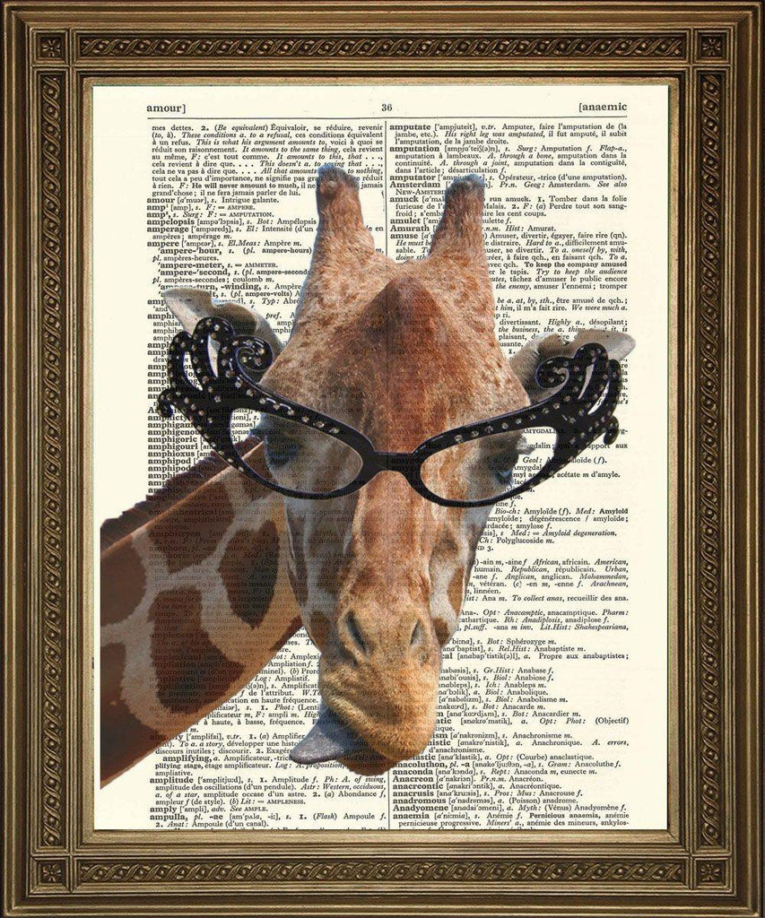GIRAFFE WEARING GLASSES: Dictionary Page Art Print - The Print Arcade