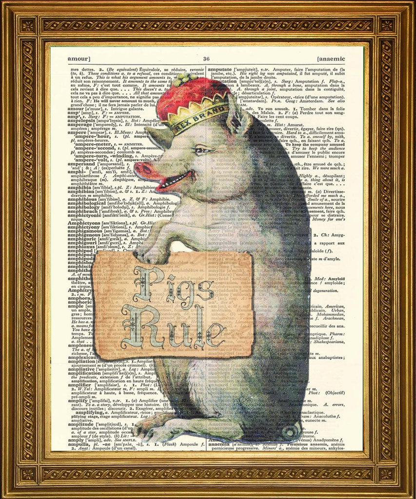 PIGS RULE! Fun Dictionary Art Print Wall Hanging - The Print Arcade