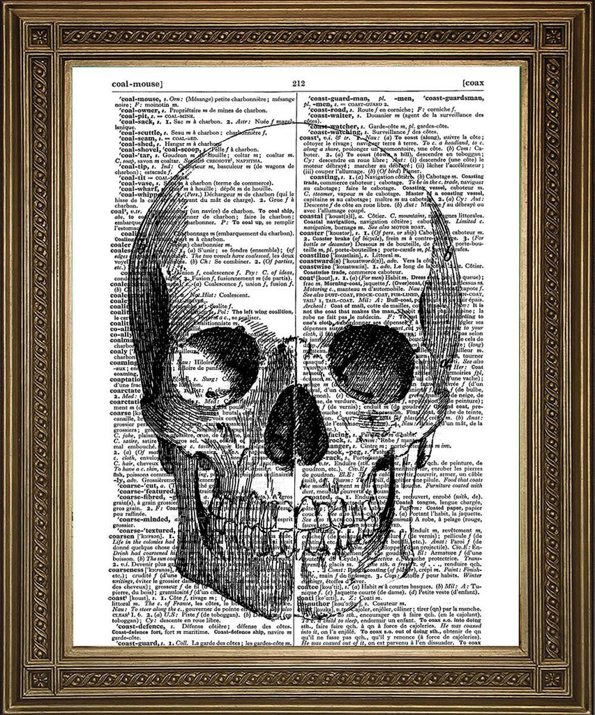 SKULL PRINT: Human Head Vintage Dictionary Art - The Print Arcade
