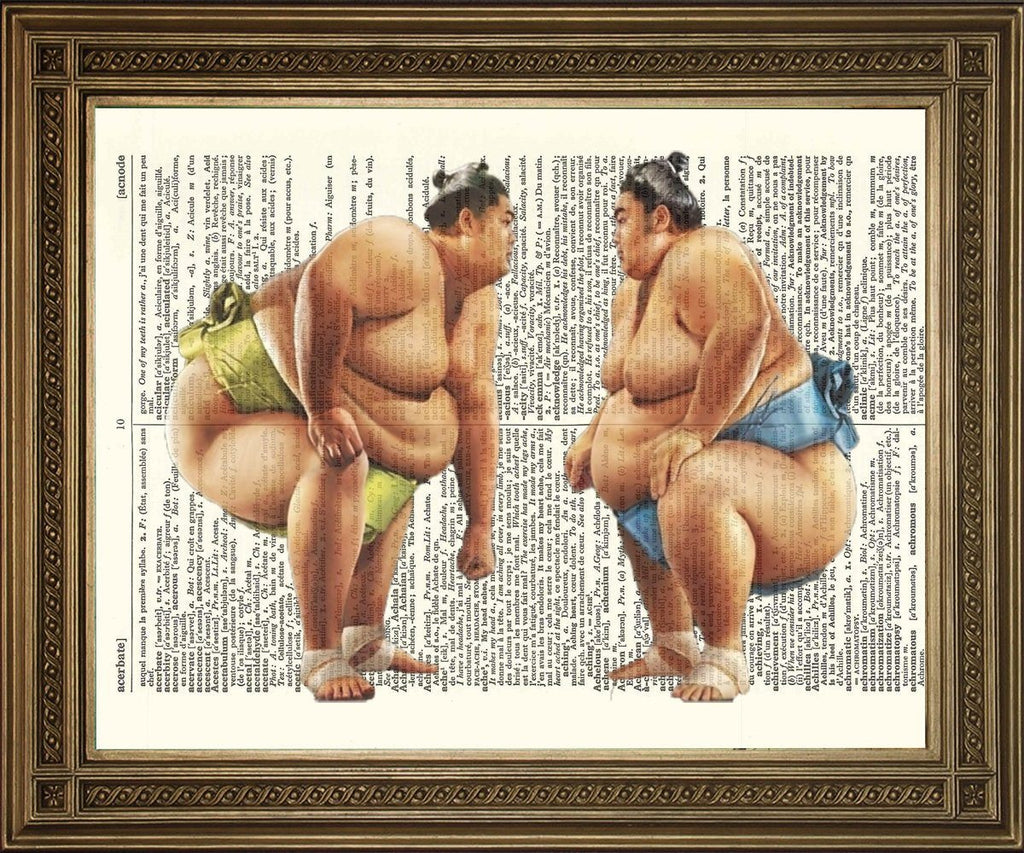 JAPANESE SUMO WRESTLERS: Vintage Dictionary Art Print - The Print Arcade