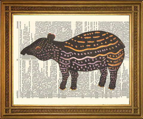 TAPIR ANIMAL PRINT: Vintage Dictionary Book Page Art - The Print Arcade