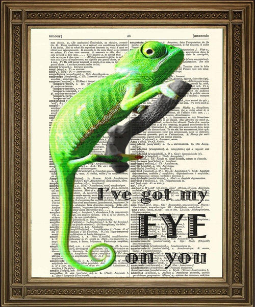 DICTIONARY ART CHAMELEON: 'I've Got My Eye on You' Print - The Print Arcade