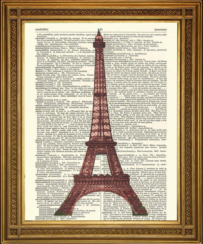 EIFFEL TOWER PARIS PRINT: French Dictionary Page Art - The Print Arcade