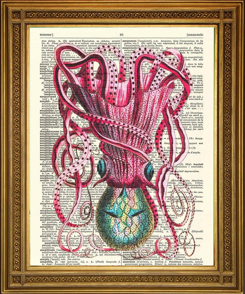 OCTOPUS / SQUID PRINT: Dictionary Art Illustration - The Print Arcade