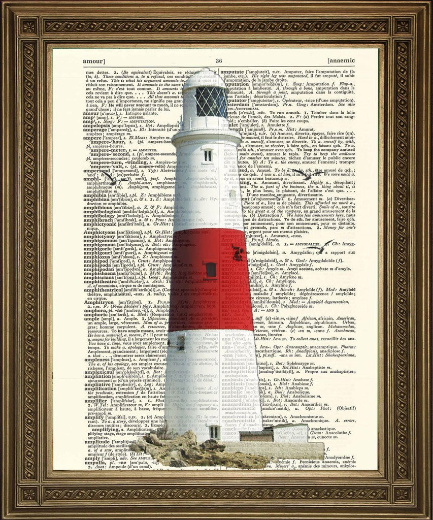 LIGHTHOUSE PRINT: Seaside Coast Dictionary Art Wall Hanging - The Print Arcade