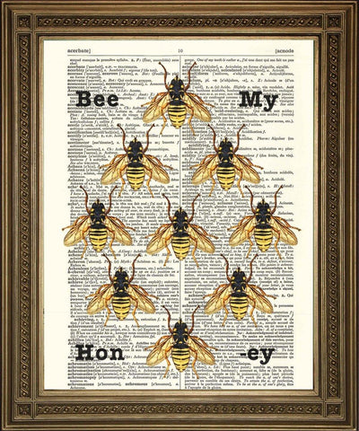 HONEY BEES PRINT: 'Bee My Honey' Dictionary Art - The Print Arcade