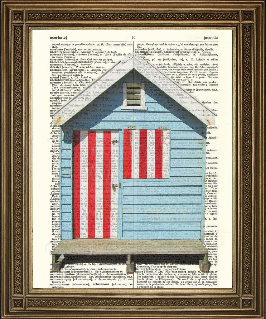BEACH HUT: Dictionary Print, Red, White and Blue Art - The Print Arcade