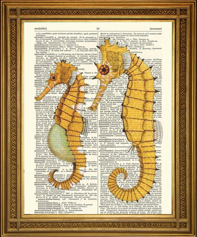 SEAHORSE PRINTS: Yellow Dictionary Art - The Print Arcade