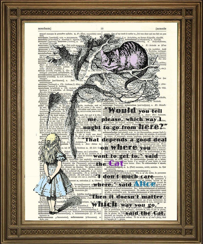 CHESHIRE CAT: Alice Dictionary Art Print - The Print Arcade