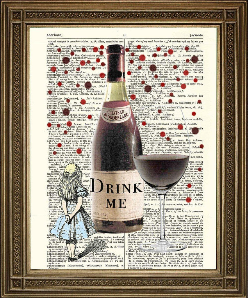 DRINK ME: Alice in Wonderland Dictionary Art Print - The Print Arcade