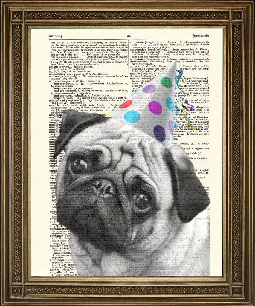PUG DOG PRINT: Bulldog in Party Hat Dictionary Art - The Print Arcade