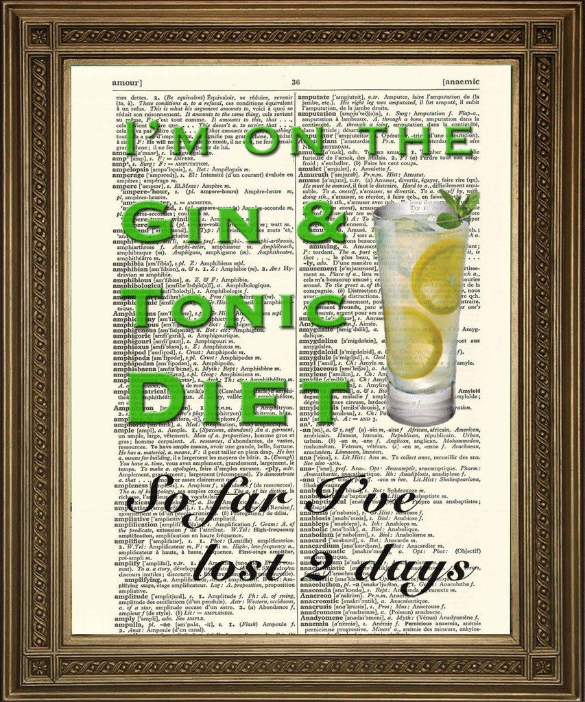 GIN & TONIC DIET: 'So Far I've Lost 2 Days', Fun Vintage Dictionary Print - The Print Arcade
