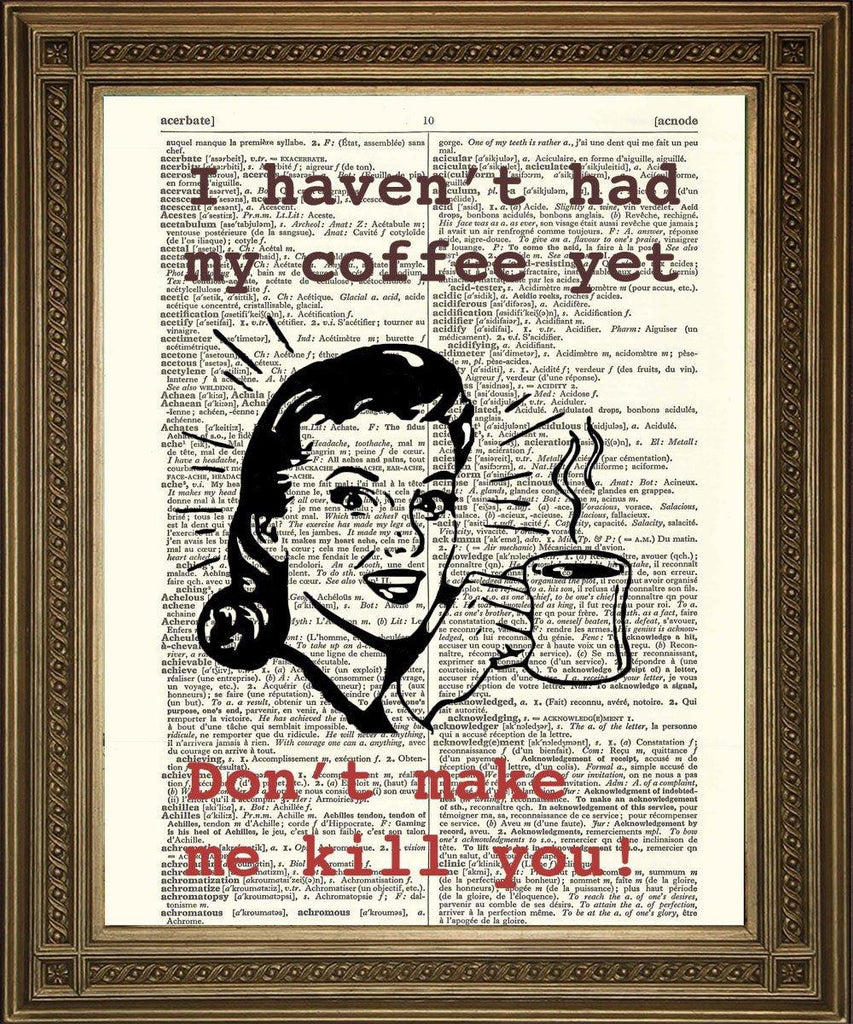 COFFEE HUMOUR: Fun Retro Advert Dictionary Print - The Print Arcade