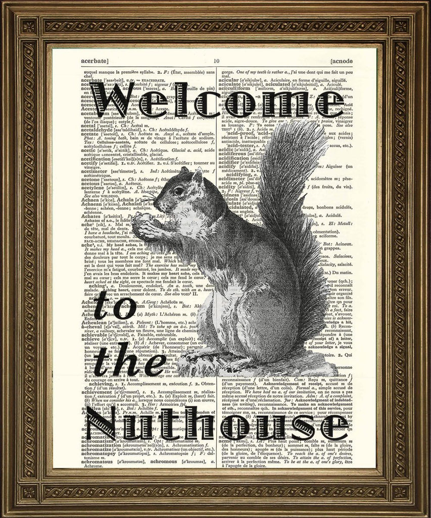 SQUIRREL PRINT: 'Welcome to the Nuthouse' Dictionary Page Art - The Print Arcade