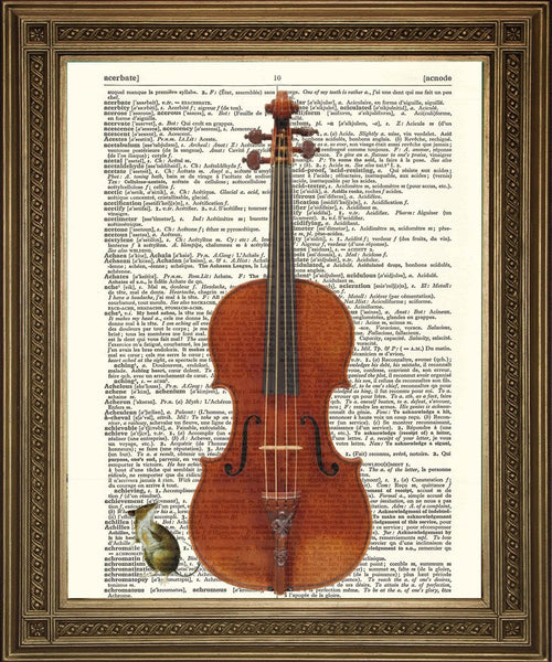 MOUSE MUSIC PRINT: Dictionary Print With Piano, Violin - The Print Arcade