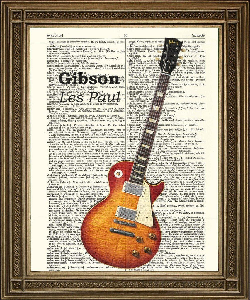 GIBSON ELECTRIC GUITAR: Dictionary Page Art Print Vintage Les Paul - The Print Arcade