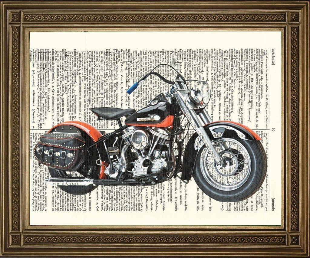 Harley Davidson Bike Print Dictionary Page Motorbike Art The